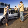 Colleague taxi drivers — Stock Photo