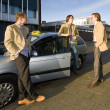 collega taxichauffeurs — Stockfoto