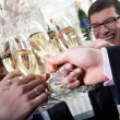 Toasting with champagne — Stock Photo