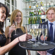 Serving champagne — Stock Photo