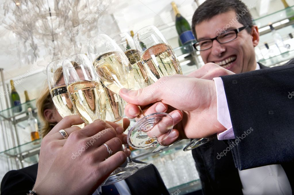 Several toasting with champagne on new years eve — Stock Photo #2137719