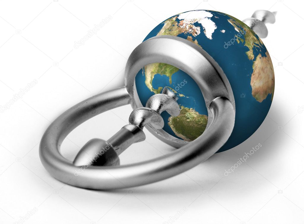 Earth as a stopper penetrated by an opener    — Stock Photo #2058379