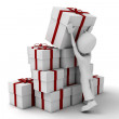 Royalty-Free Stock Photo: 3d man and many presents