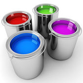 2d paint buckets — Stock Photo
