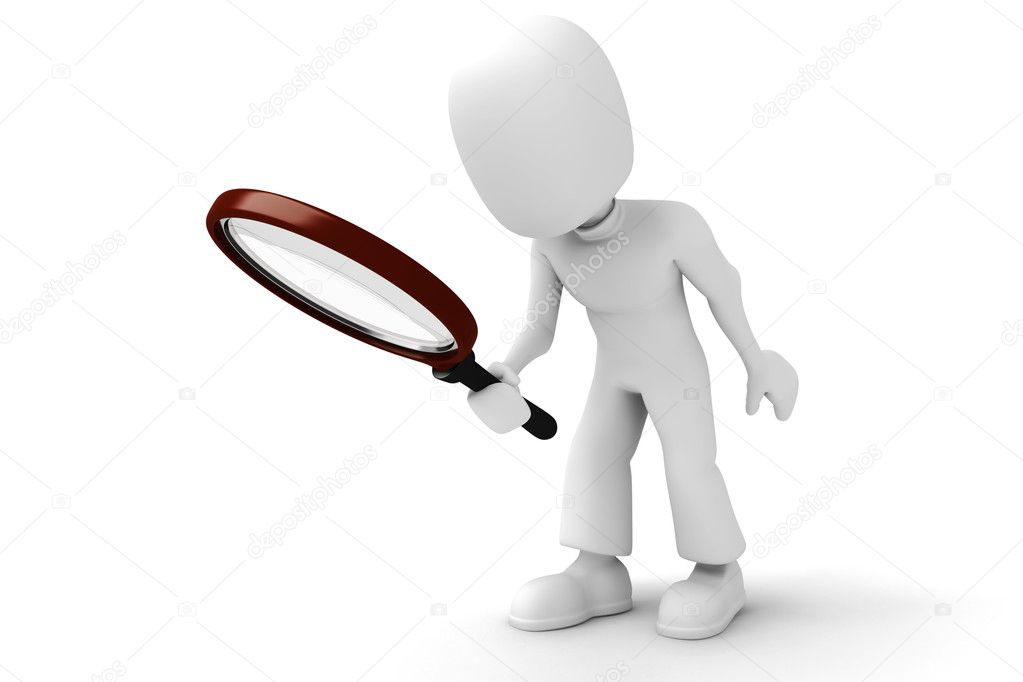 3d man with a big magnifier glass stock photo 169 digitalgenetics