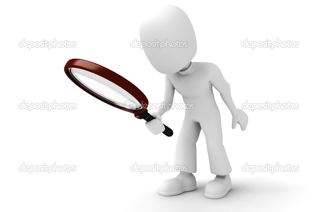 3d man with a big magnifier glass — Stock Photo #2074727