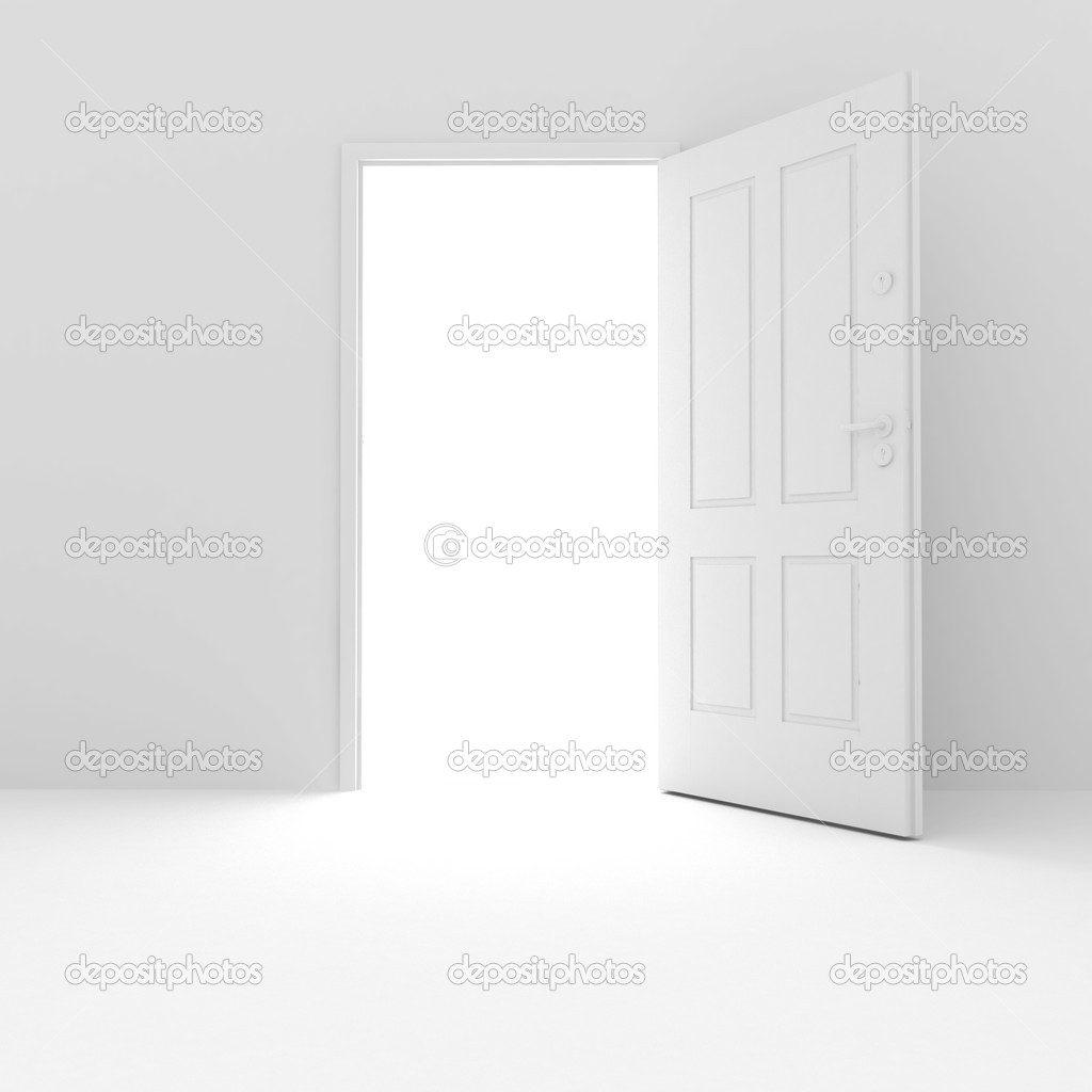 3d white door on white background — Foto Stock #2256937