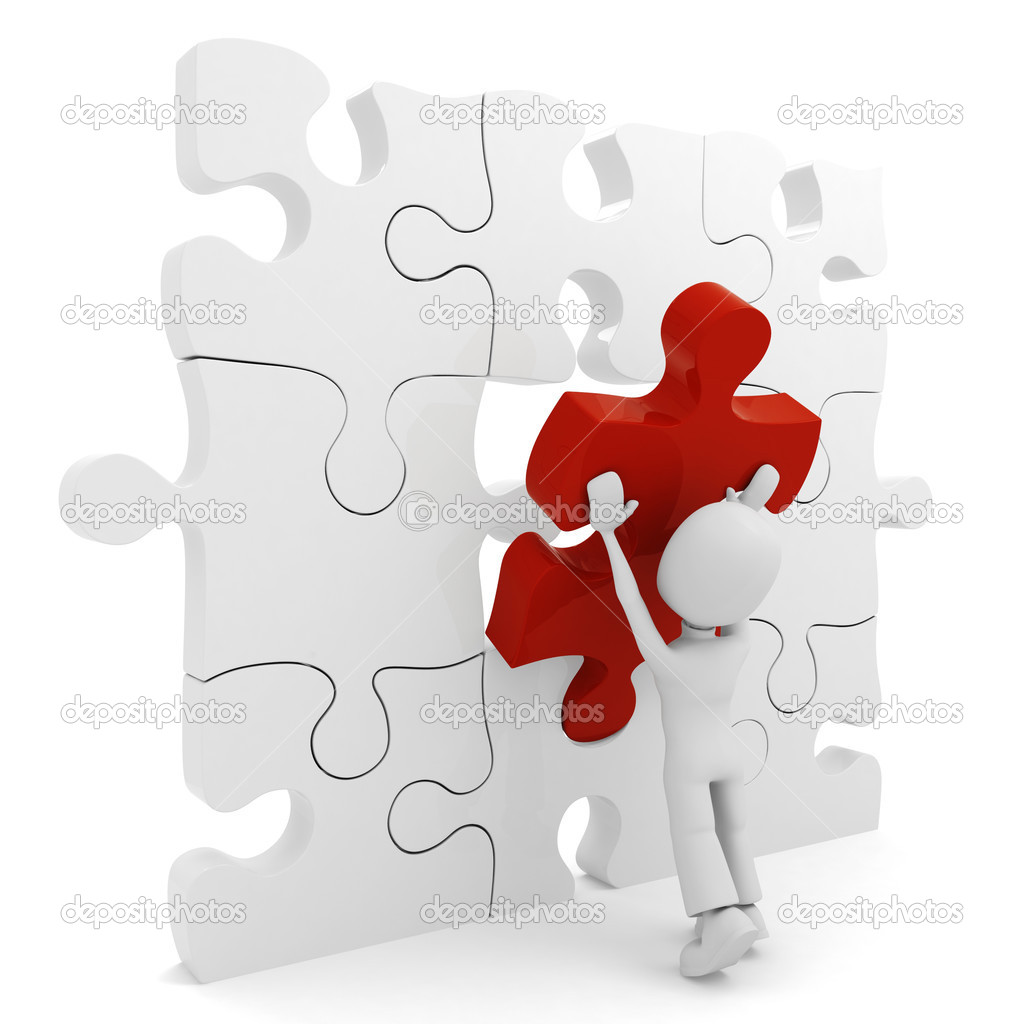3d man pushing a puzzle pieces into its place  Foto de Stock   #2423943