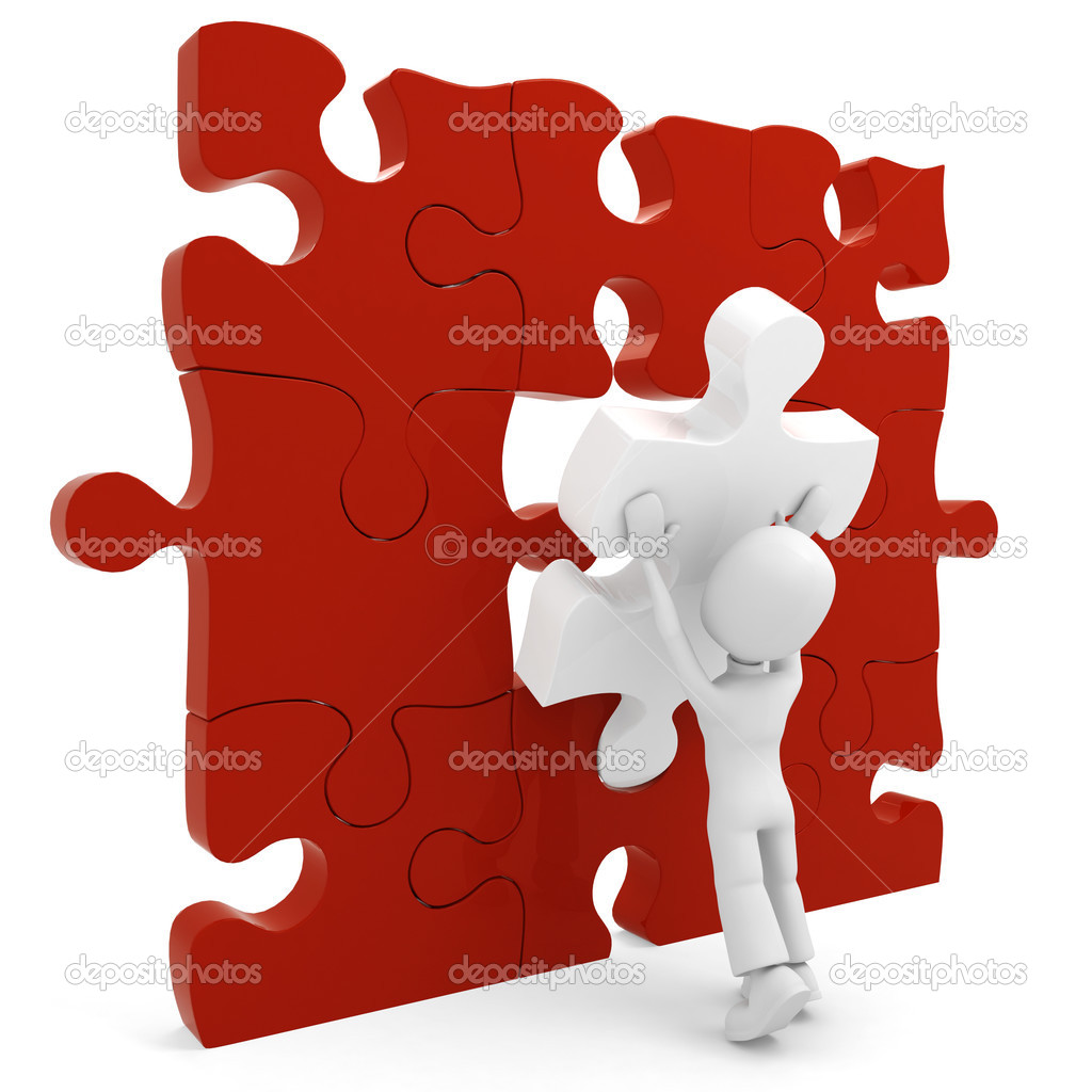 3d man pushing a puzzle pieces into its place — Foto de Stock   #2423961
