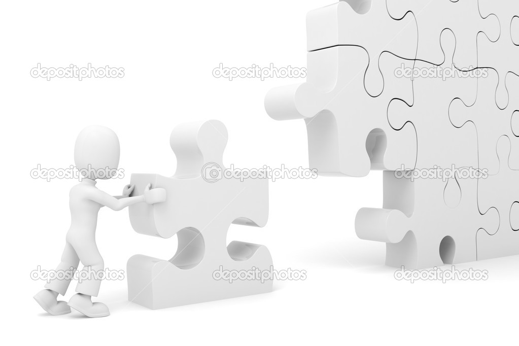 3d man pushing a puzzle piece into its place — Stock Photo #2599461