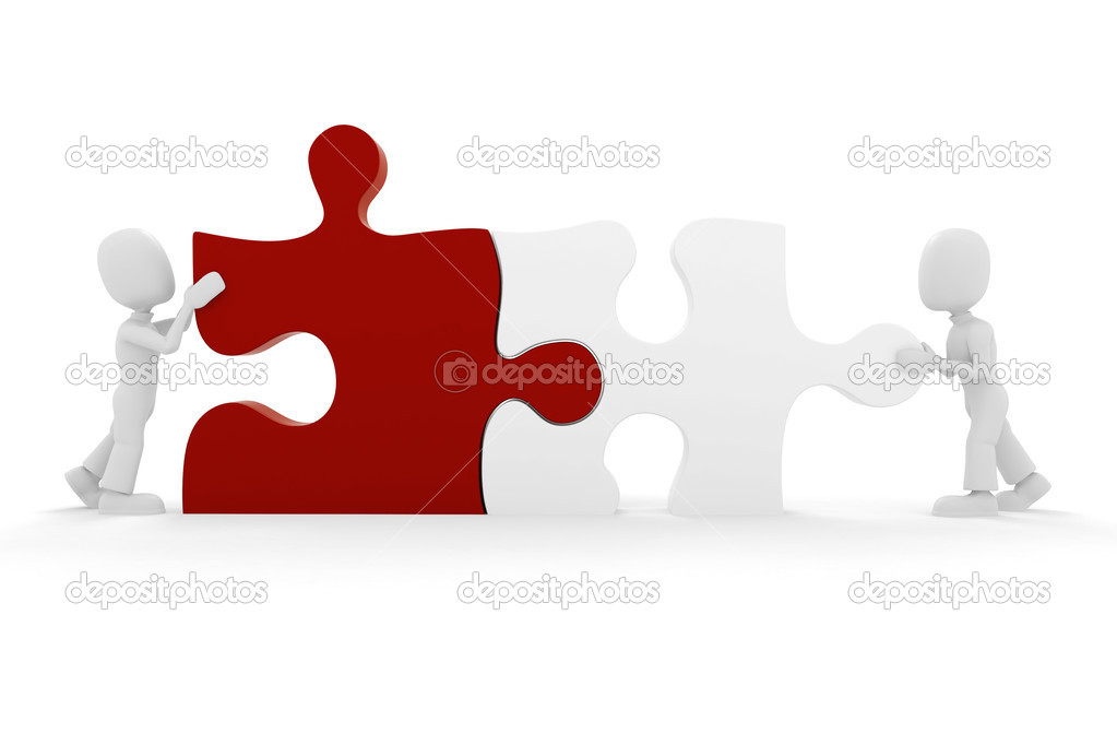 3d man and puzzle pieces — Stock Photo #2671190