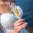 Stock Photo: Bride with glass of champagne