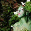 Green environmental face painting — Stock Photo