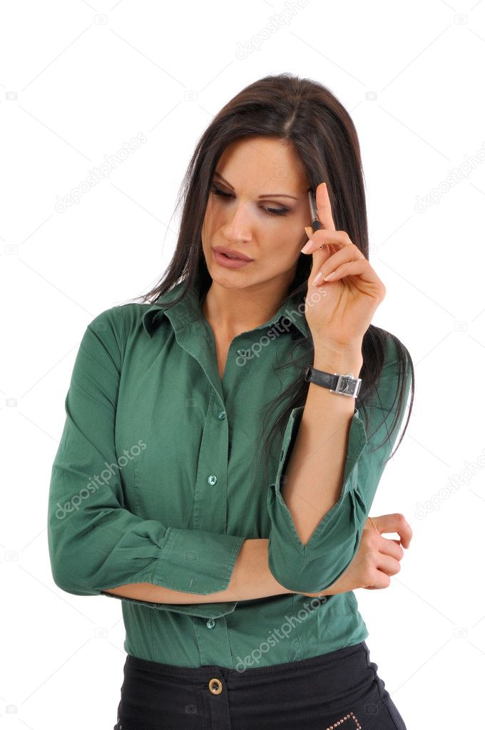 Young and beautiful business woman worried — Stock Photo #2082016