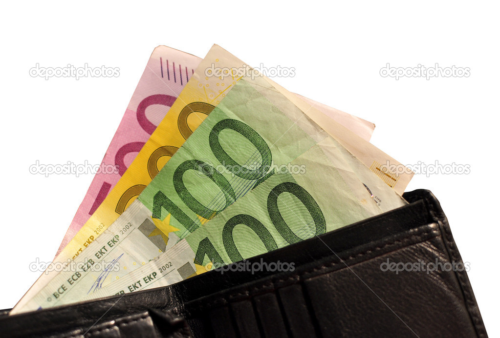 Close up of a black leather wallet with 900 euros isolated on white — Stock Photo #2088053