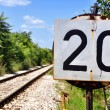 Stock Photo: Spped Limit on Railroad