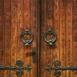 Church doorway with wooden doors - Stockfoto