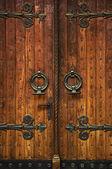 Church doorway with wooden doors — Stock Photo