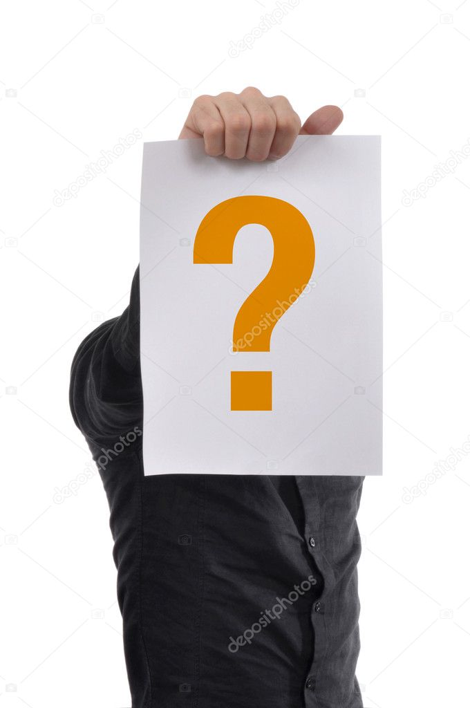 Man is holding a piece of white paper with question mark printed — Stock Photo #2111927