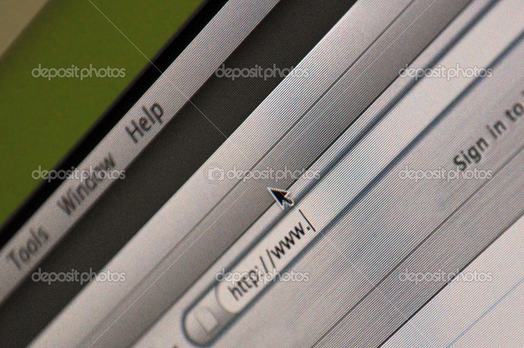 Close up of computer desktop display with windows and menus  Stock Photo #2428454