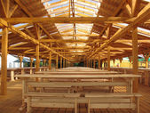Wooden pavilion, carport — Stock Photo