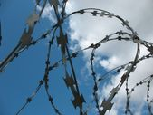 Barbwire and wall under blue sky — Stock Photo