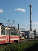 Factory tube and tram — Stock Photo