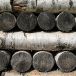 Stack of birch firewood - Stock Photo