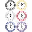 Set of 6 Clocks — Stock Vector