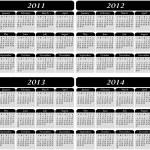 4 Year Calendar in Black — Stock Vector