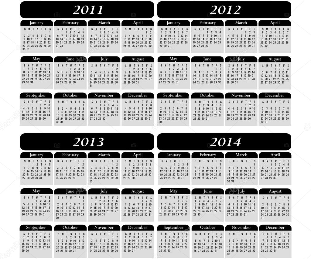 4 year calendar on a black background 2011, 2012, 2013, 2014 — Stock Vector #2438724