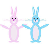 Set of 2 Easter Bunnies — Stock Vector
