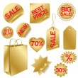 Golden set of sale icons — Imagen vectorial