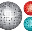 Silver, red and turquoise disco ball — 图库矢量图片