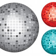 Silver, red and turquoise disco ball — Imagen vectorial