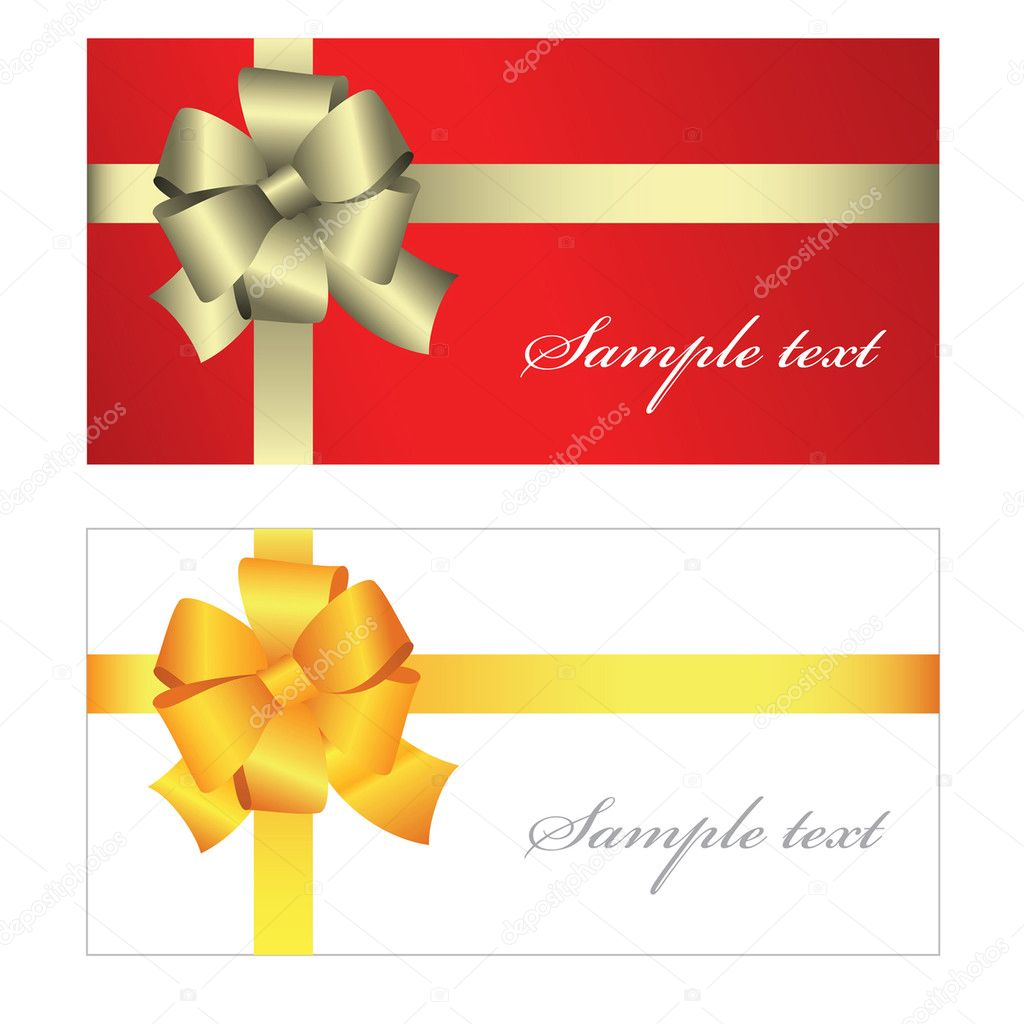 Gift card with ribbon for birthday, christmas, valentine, wedding... — Stock Vector #2393223