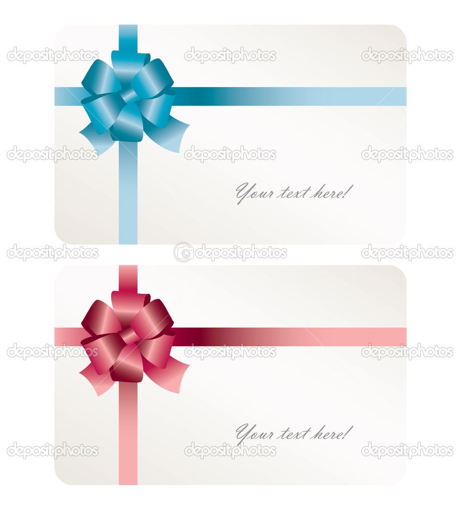 Gift card with blue and purple ribbon — Stock Vector #2395262