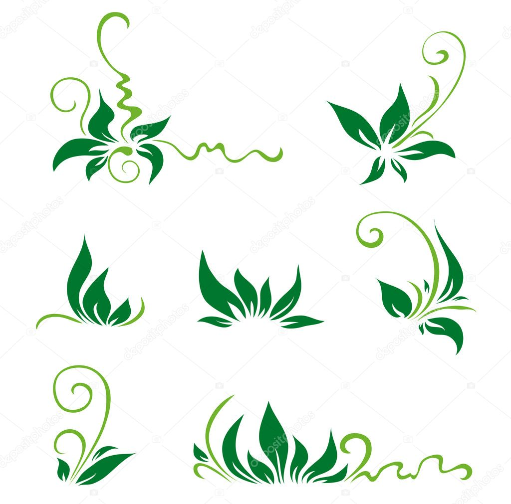 Green leaves and swirls for decor. Vector illustration  Stock Vector #2065299