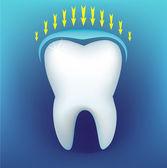 Koyu mavi bir arka plan üzerinde diş — Stok Vektör
