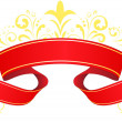 Decorative  red banner with swirls. - Vettoriali Stock