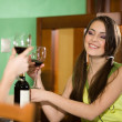 Boy and nice girl drink wine — Stock Photo
