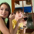 Girl and boy are drinking wine — Stock Photo #2077136