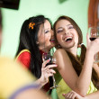 Boy with two girls are drinking wine — Stock Photo #2077140