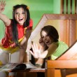 Stockfoto: Two cheerful girls