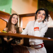 Two nice girls at table — Stock Photo #2077851