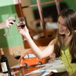 Two girls drink wine — Stock Photo