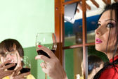 Girl with boy drink wine — Stock Photo