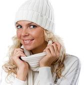 Sexy beautiful girl in white hat — Stock Photo