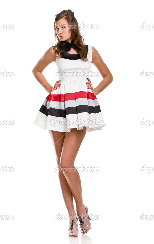 Sexy girl in white short dress — Stock Photo #2077971