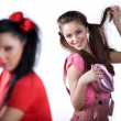 Girl in red dress and girl with handbag — Stock Photo #2167239